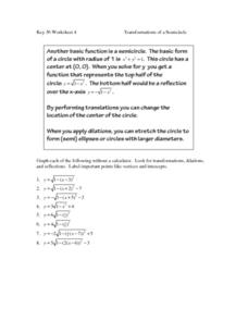 Transformation of a Semicircle Worksheet