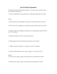 Lab 23-Follow Up Questions-Conductivity Worksheet