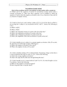 Non-Uniform Circular Motion Worksheet