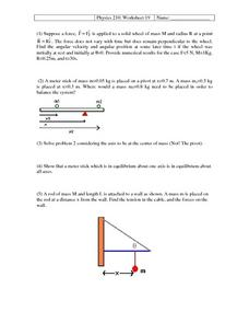 Physics 210: 19 Worksheet