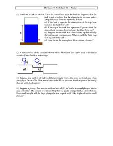 Physics 210: Fluid Dynamics Worksheet