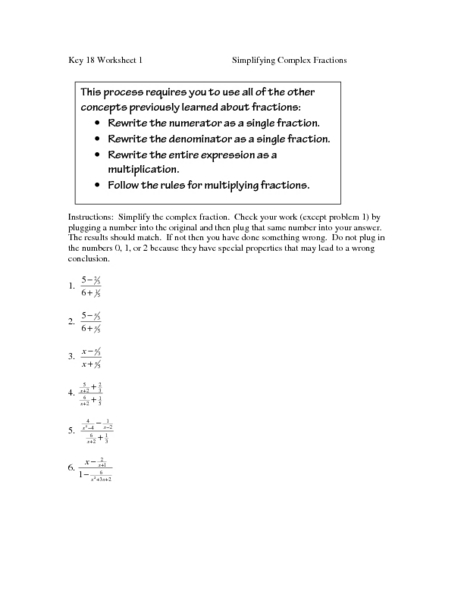 Simplifying Complex Fractions Worksheet For 8th 10th
