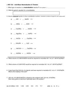acid and base worksheet answers - Termolak