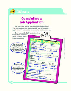 Completing a Job Application Worksheet