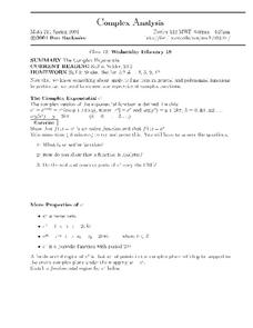 Complex Analysis:  Complex Exponential Worksheet
