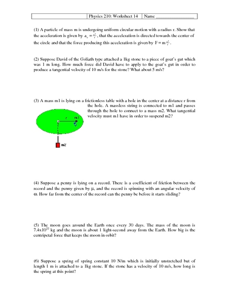 Physics 210: Circular Motion Worksheet for 12th - Higher Ed | Lesson ...