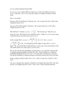 Eight Find the Probability using the Z-Score Problems Worksheet