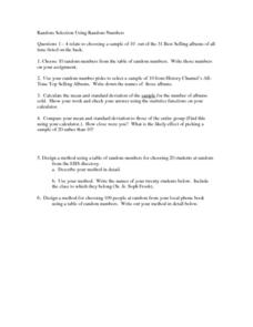Selecting Random Numbers and Making Calculations Worksheet