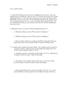 Z-Score and Percentiles Worksheet
