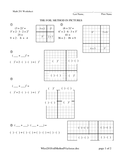 foil method using the area model worksheet for 9th 11th grade lesson planet. Black Bedroom Furniture Sets. Home Design Ideas