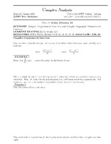 Complex Analysis:  Functions Worksheet