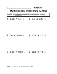 Multiplication of Decimals (CARE) Worksheet