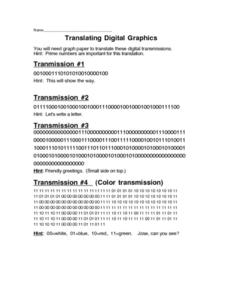 Translating Digital Graphics Worksheet