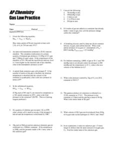 AP Chemistry-Gas Law Practice Worksheet