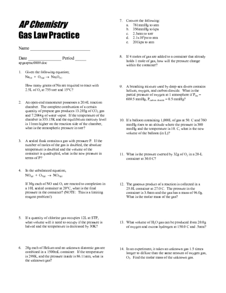 ap chemistry gas law practice worksheet for 10th 12th grade lesson planet. Black Bedroom Furniture Sets. Home Design Ideas