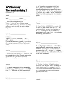 AP Chemistry Thermochemistry 2 10th - 12th Grade Worksheet ...