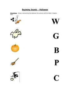 Beginning Sounds - Halloween Worksheet