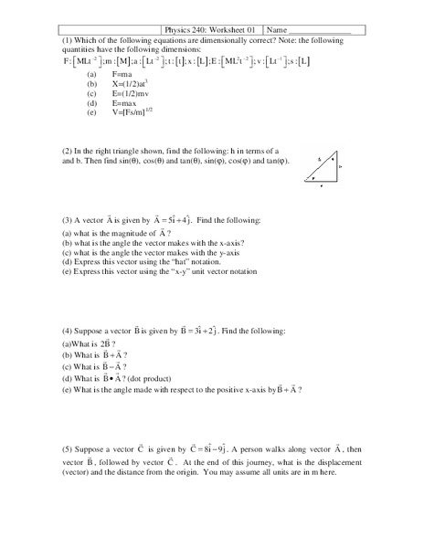 Physics 240 Vectors Worksheet For 11th Higher Ed