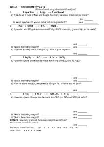 WS 4.4 Stoichiometry Part 2 Worksheet