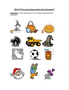 Which Pictures are Associated with Halloween: Part 2 Worksheet