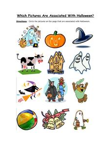 Which Pictures are Associated with Halloween: Part 3 Worksheet