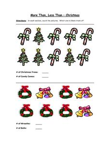 More Than, Less Thank - Christmas Part 2 Worksheet