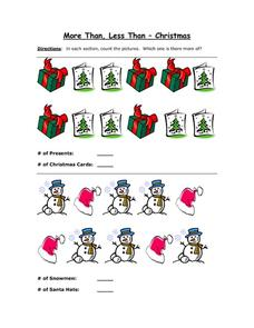 More Than, Les Than - Christmas 1 Worksheet