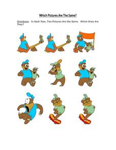 Which Pictures Are the Same? Cartoon Bears Worksheet