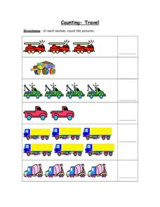 Counting - Travel 3 Worksheet