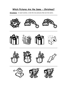 Which Pictures Are the Same? Christmas Pictures Worksheet