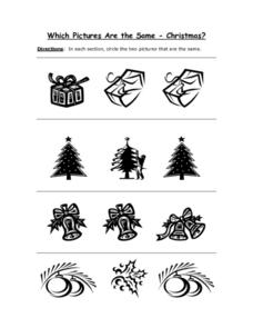 Which Pictures Are The Same - Christmas Worksheet
