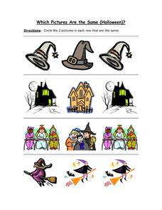 Which Pictures Are the Same: Halloween Images Worksheet