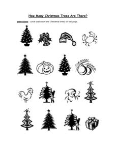 How Many Christmas Tress Are There? Worksheet