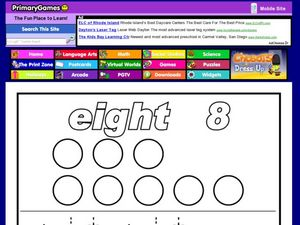 Eight: The Number and Word Printing Practice Worksheet