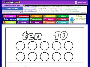 The Number Ten: Printing the Number and Word Name Worksheet