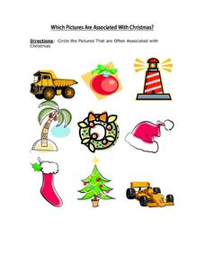 Which Pictures Are Associated with Christmas Worksheet