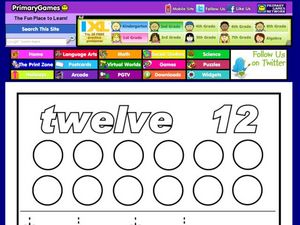 Numbers Activity Page - Twelve Worksheet
