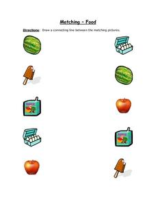 Matching- Food (Color Copy With Watermelon) Worksheet