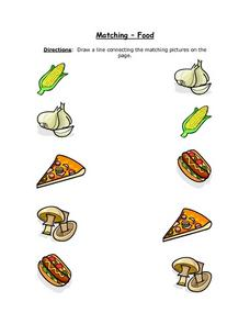 Matching- Food (Color Copy With Corn on the Cob) Worksheet