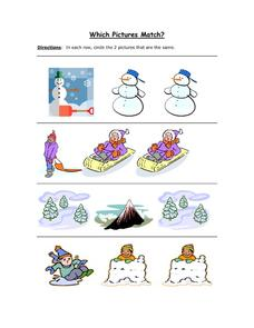 Which Winter Pictures Match? Worksheet