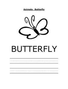 Animals: Butterfly Printing Practice Sheet Worksheet