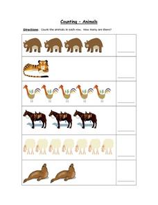 Counting- Animals (Color Copy: Counting Up to 7) Worksheet