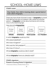 School-Home Links  Biography Worksheet