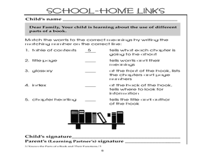 School - Home Links: Parts of a Book Worksheet