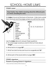 Using an Index - School-Home Links Worksheet
