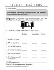 Fiction and Nonfiction - School-Home Links Worksheet