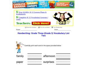 Handwriting: Grade Three Vocabulary List Two Worksheet