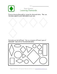 Shapes Worksheet: Learning Diamonds Worksheet