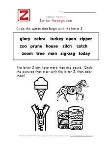 Alphabet Worksheet: Letter Z Recognition Worksheet
