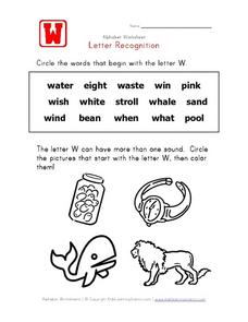 Alphabet Worksheet: Letter W Recognition Worksheet